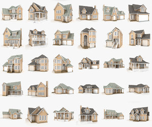 hi-poly cottages mega pack 3D model