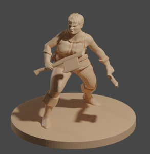 3D dnd miniature dwarf female model