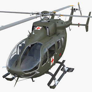 3D eurocopter h-72 lakota rigged
