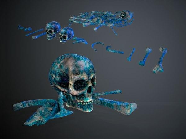 skulls1 meat alien bones 3D model