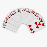 row playing cards 3D