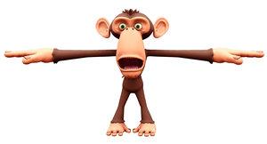 monkey cartoon rigged shape 3D model