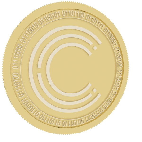 3D crypterium gold coin model
