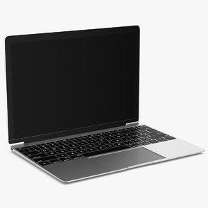 3D silver laptop computer model