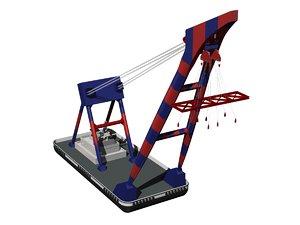 3D model floating crane2000t