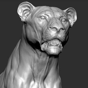 3D lion powerful big cat