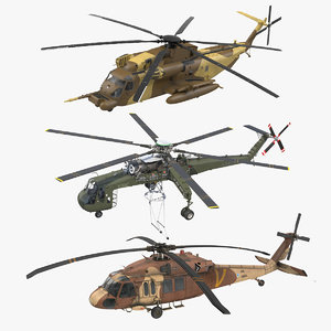 sikorsky military rigged helicopters 3D model