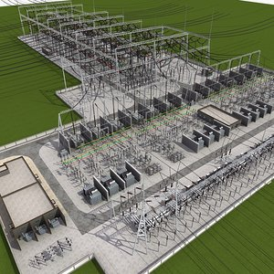 3D model substation power electricity