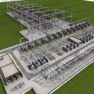 3D model substation power electricity