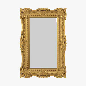 3D realistic baroque mirror picture frame model