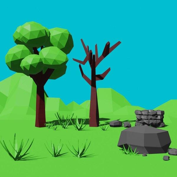 tree rock 3D model