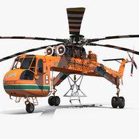 sikorsky s-64 skycrane helicopter 3D model