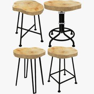 3D bar stools model