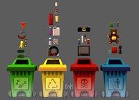 3D garbage cartoon props model