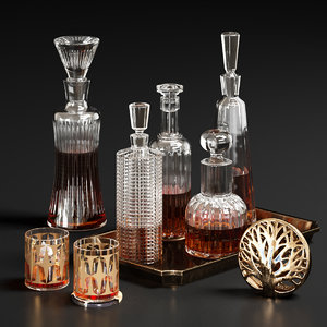 glass decanters set 3D