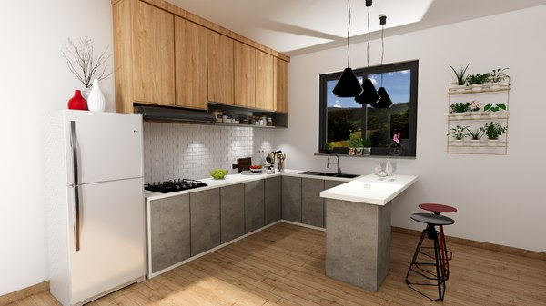 3D modern kitchen design decoration