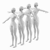 3D stylized female abby base mesh
