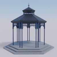 3D model garden gazebo pavilion metal