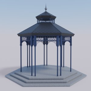 3D model garden gazebo pavilion metal