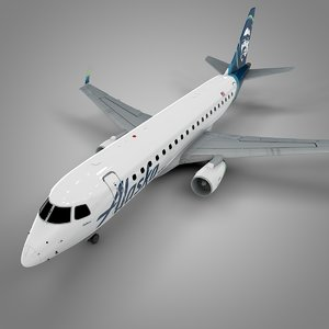3D model alaska airlines embraer170 l503