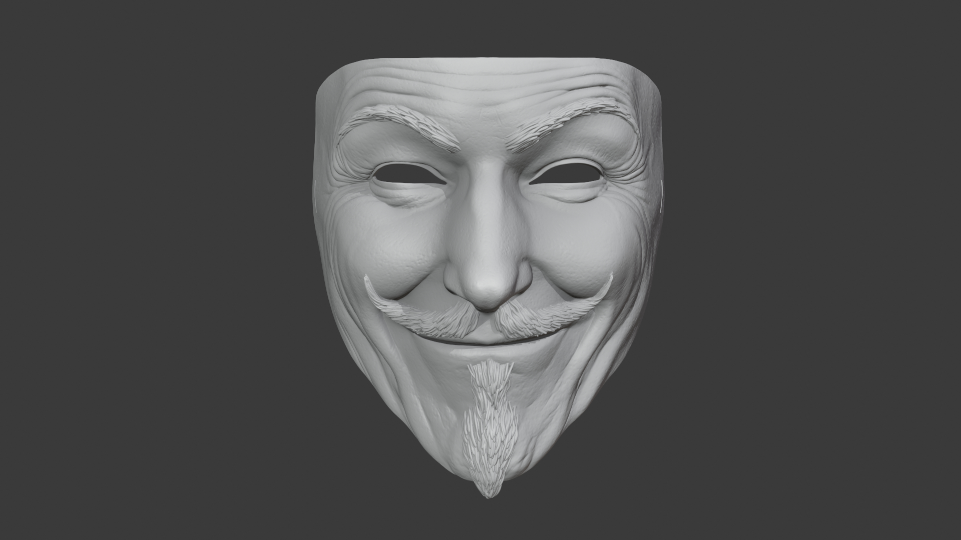 Guy Fawkes V Fur Vendetta Mask 3d Printer Ready 3d Modell