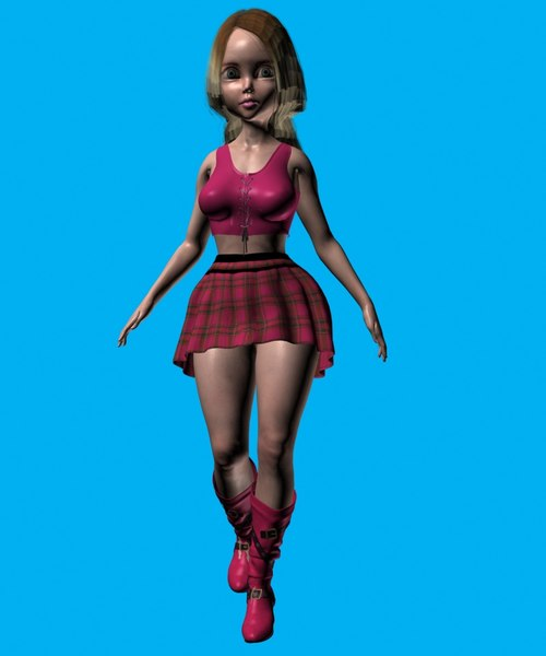 3D ready-posed woman fullbody model