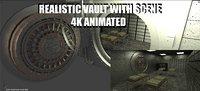 bank vault scene money 3D model