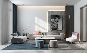 3D model livingroominteriorloftloungediningrealisticmodernscenehomephotorealvrayluxuryapartment sofa