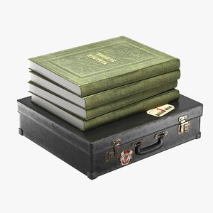 realistic suitcase books 3D model