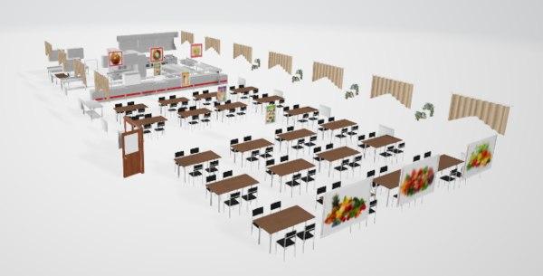 set canteen kitchen 3D model