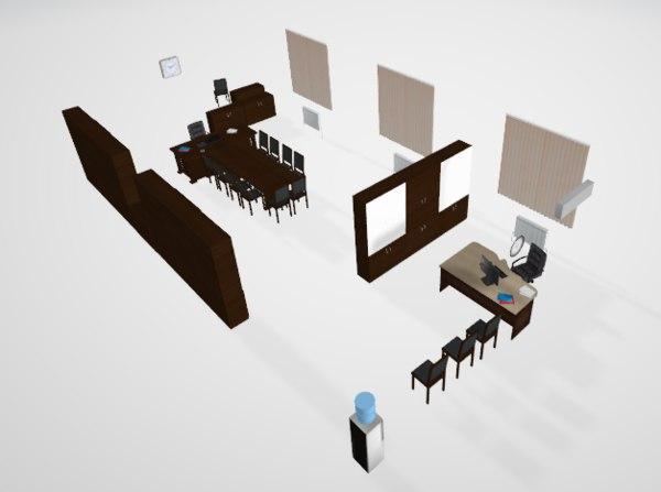 3D interior director office model