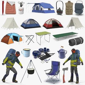 3D model camping man traveler 2