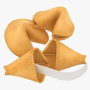 3D realistic broken fortune cookies