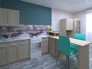 studio apartment kitchen room 3D model