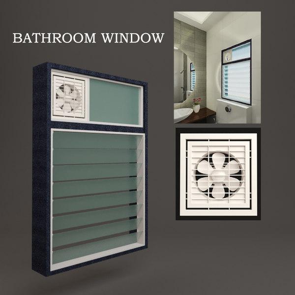 3D bathroom window model