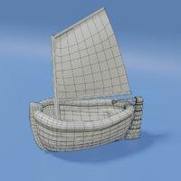 3D cartoon sailboat model