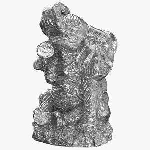 elephant statue silver 3D model