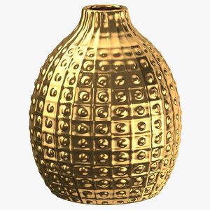 3D vase decoration 01 gold model