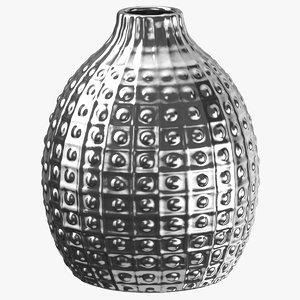 3D vase decoration 01 silver