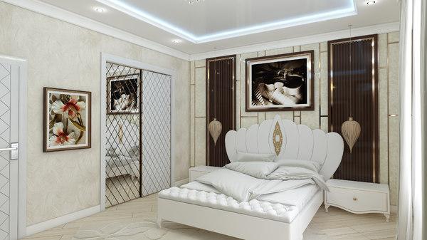 3D bedroom wardrobe interior design model