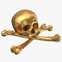 pirate skull bones composition 3D model