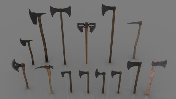 3D 14 medieval axes hatchets