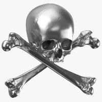 3D pirate skull bones composition