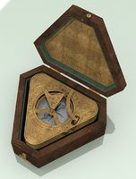 Vintage Gilbert & Sons Triangular Compass & Sundail combo with box (ca.1850)
