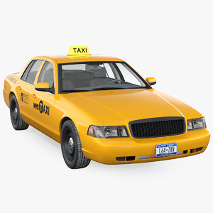 3D generic yellow taxi simple model