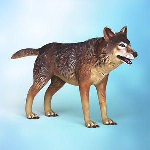 cartoon wolf 3D model