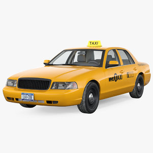 crown victoria yellow taxi 3D model