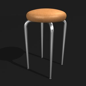realistic leather stool 3D model