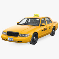 3D generic yellow taxi model