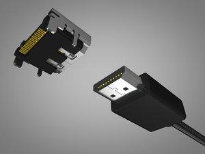 3D hdmi male female connector